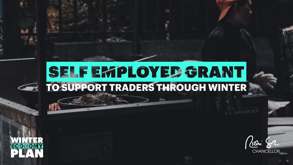 Throughout this crisis, we have ensured parity between employees and the self-employed.  So to support self-employed traders through the winter I am extending the existing self-employed grant on similar terms and conditions as the new Jobs Support Scheme. https://t.co/QrPW0EYEB9