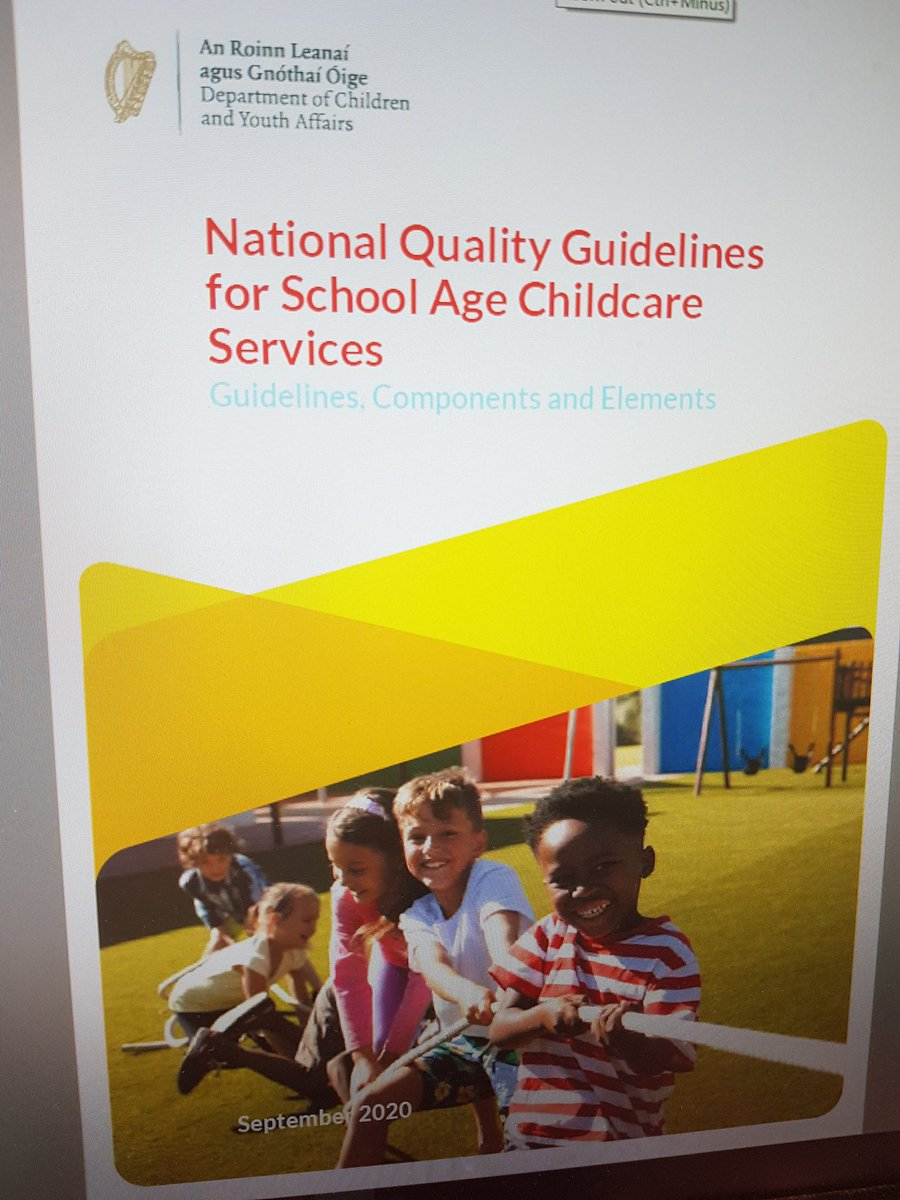 Looking fwd to the launch of the National Quality Guidelines for School Age Childcare, a great resource for services providing SAC  @DeptDCYA @ChildRightsIRL https://t.co/gkn4EqqslP