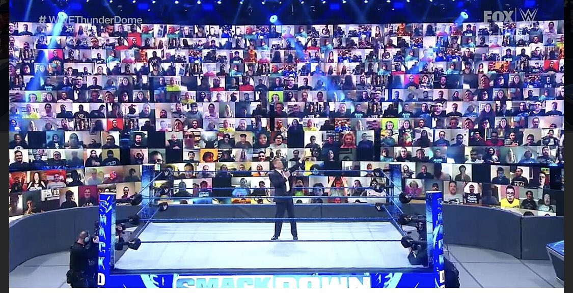 Watching @RobTebbutt interview with @EddieHearn and it gave me an idea. In the absence of fans would there be any desire to do what @WWE have done via the thunder dome with screens all around the seats for atmosphere etc? I think it would look class #boxing https://t.co/gweyHlHLaE