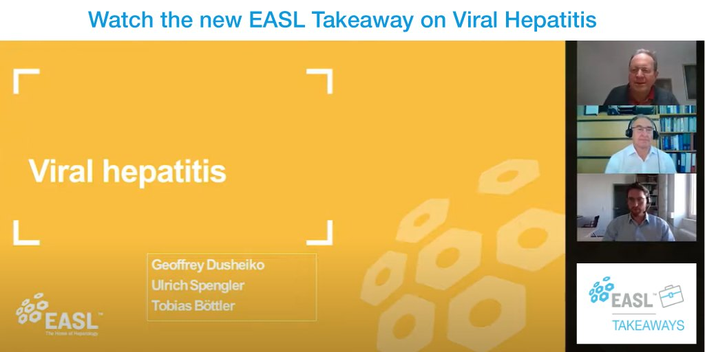 The new EASL Takeaway on Viral #Hepatitis is live. Watch it here: https://t.co/nMaSEJ4cor. 3 renowned experts in viral hepatitis – Prof. Ulrich Spengler, Prof. Geoffrey Dusheiko & Dr. Tobias Böttler – recap the key developments revealed at the Digital #ILC2020. https://t.co/TIwRa8aSd1