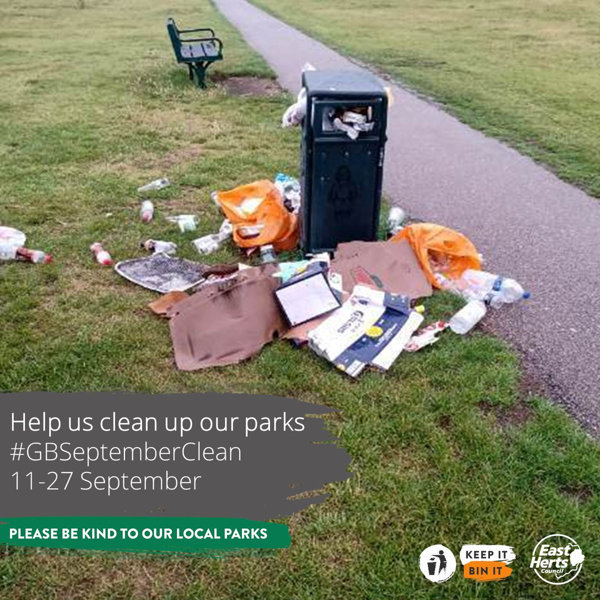 Spotted a full bin?  You can report that to us online: https://t.co/wehvxGvycB  #GBSeptemberClean #KeepBritainTidy #CleanUpYourAct #LoveParks #KeepItBinIt #LitterHeroes  @KeepBritainTidy @wasteaware https://t.co/mFd9I5eo3v