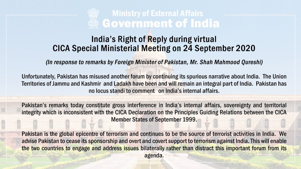 India's Right of Reply during the virtual CICA Special Ministerial Meeting today.   https://t.co/wWftYYA419 https://t.co/uqNUWro6VJ