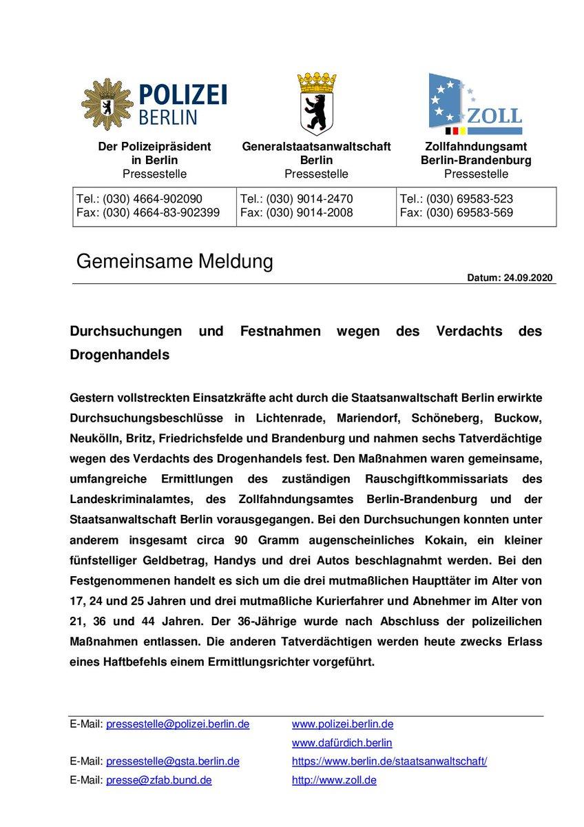 Gemeinsame Pressemitteilung mit #PolizeiBerlin und #ZollfahndungsamtBerlinBrandenburg: Durchsuchungen und Festnahmen wegen des Verdachts des Drogenhandels https://t.co/Xzw8lCyFX7