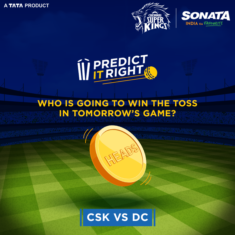 The Kings will be back tomorrow with a roar and a bang to fight the Delhi Capitals! Who do you think will win the toss? Let us know in the comments. Check out the CSK collection here: https://t.co/fyFxOIKHQ0  #SonataWatches #CSKKuSonata #Yellove #CSK #WhistlePodu #DCvCSK https://t.co/vuhz5L2g7h