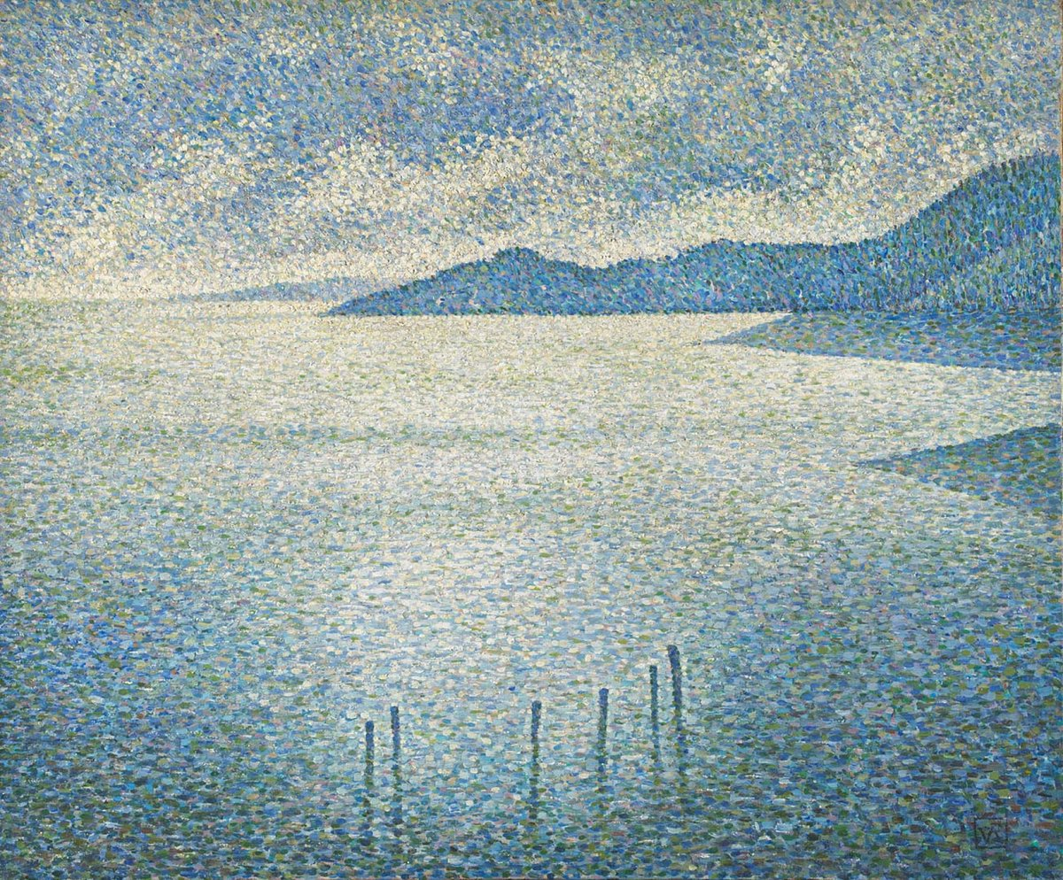 Countless tiny dots make up this calming scene by Théo van Rysselberghe. A distinctive feature of his work is the clusters of white dots sprinkled across the picture surface, as here, which give his paintings an animated, almost dancing quality: https://t.co/vzH8bQCCc9 https://t.co/aYUV6CxDYG