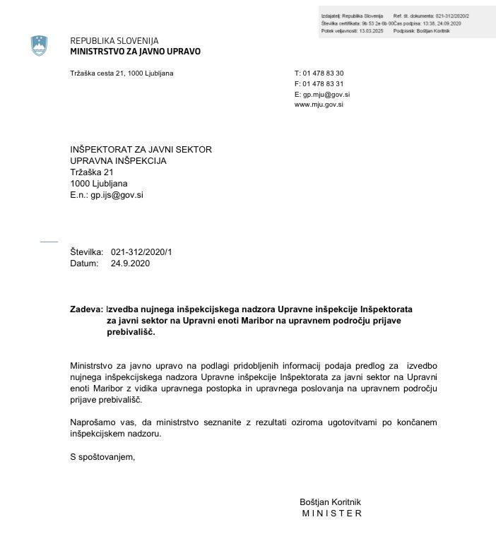 ❗️Na Inšpektorat za javni sektor sem podal predlog za izvedbo nujnega inšpekcijskega nadzora na UE #Maribor na upravnem področju prijave prebivališč. Prizadeval si bom, da problematiko fiktivnega prijavljanja prebivališč v sodelovanju z @mnz_gov_si in @mddszRS rešimo čim prej. https://t.co/TI4AkZkwNB