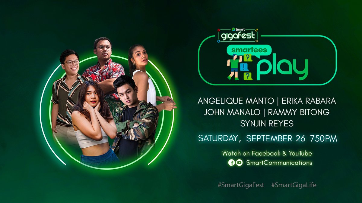 Virtual party ideas? Got tons of it! Let us show you how it's done with @AngeliqueManto, @rammybitong, @erikarabara, @manalojohn and @synjinreyes at #SmartGigaFest this September 26, Saturday!  More details at https://t.co/mt2QSpvrmw #SmartGigaLife https://t.co/mSb9sx0BgA