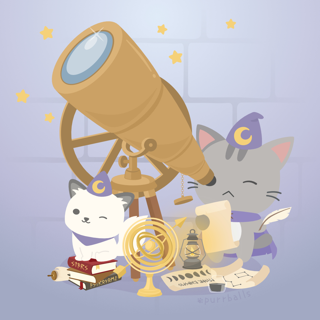 As night falls, Tsuki and Shimo climbed up to the highest chamber for their Astronomy class. 🔭 They are studying the movement of stars tonight! 🌒💫  #astronomy #moonphases #starchart https://t.co/ph9pMaC9fg