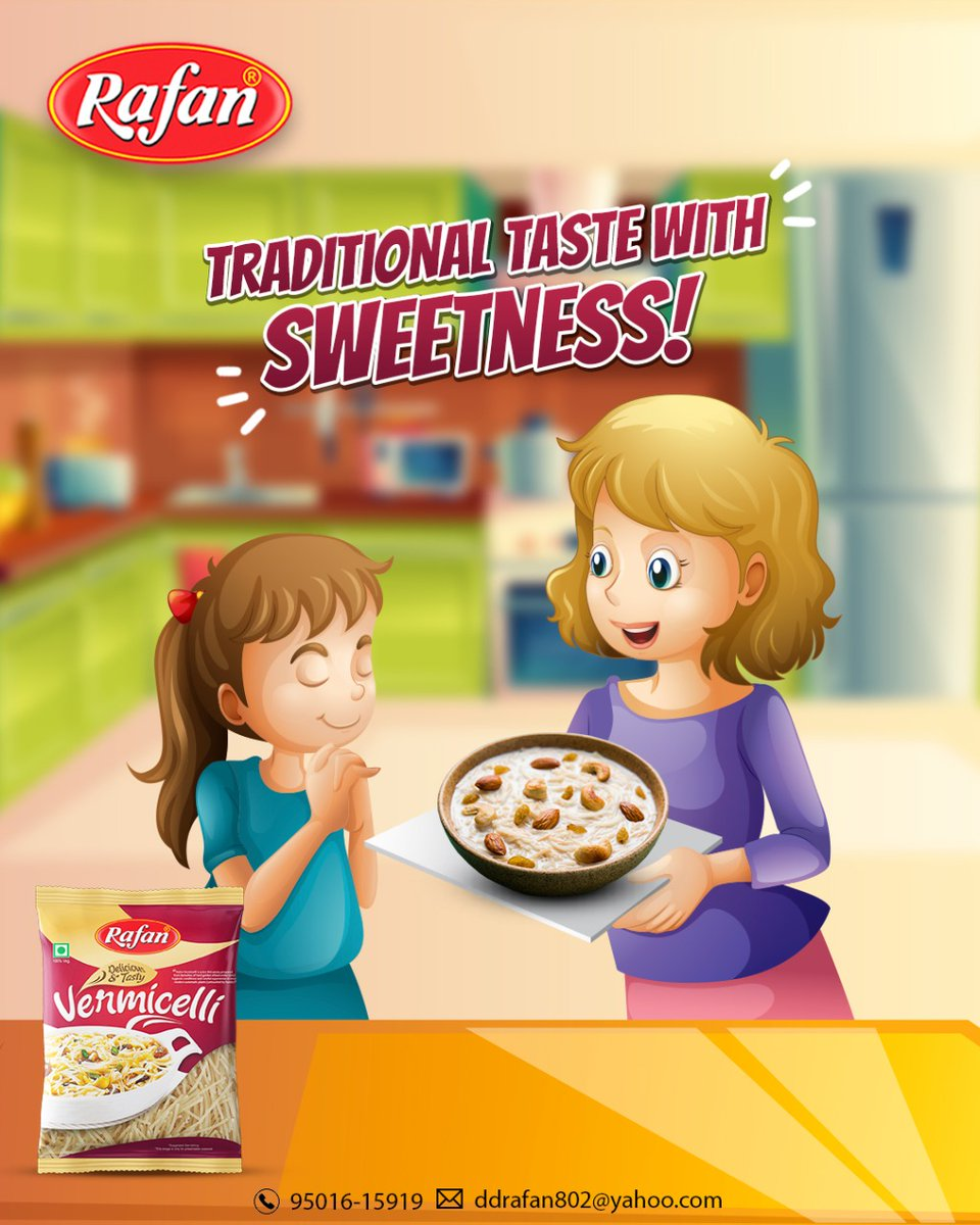 Enjoy a special traditional taste in your happy moments with Rafan sweet vermicelli. 😀  For business query call: 95016-15919  #rafan #vermicelli #sweetrecipe #sweettime #traditional #traditionaltaste #kidsrecipes #desirecipe #indianfood #newrecipes #trendingrecipes #food #recipe https://t.co/FgkrDZTt7K
