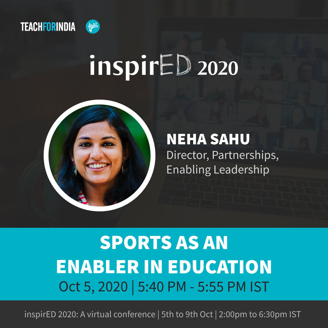 Looking forward to having @NehaSahu join us for a session on 'Sports as an Enabler in Education' at #inspirED2020.   Have you registered yet?   https://t.co/6PrYSKsYCH  #nep2020 #teachersofindia #change #impact #inspiring #future #india #dontstoplearning https://t.co/8dQslpS7C5