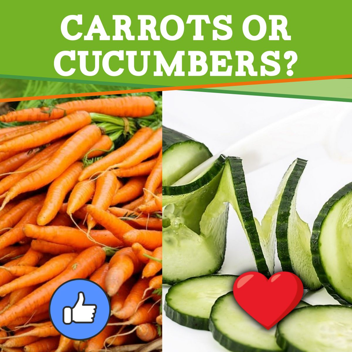 Which do you prefer? Let us know in the comments!  #carrotsorcucumbers #thisorthat #veggies #vegetables #carrots #cucumbers #like #heart #grocery #groceries #directtoconsumer #d2c https://t.co/WantVBOMrc