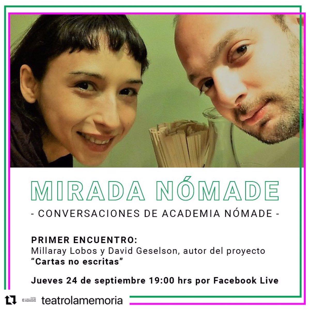 El Instituto Francés de Chile recomienda 👇  📆 Hoy 24 de septiembre a las 19hrs por Facebook Live Teatro de la Memoria https://t.co/77D54oA51B