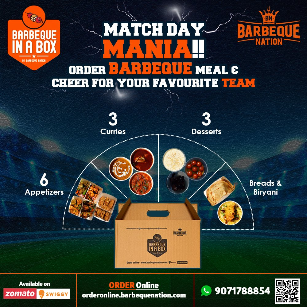 Experience the lavish Barbeque Nation's buffet experience at home, while you enjoy Punjab take on Bangalore today. Order BBQ in box today: https://t.co/UXokMC8zqx https://t.co/HYSKf8w9So
