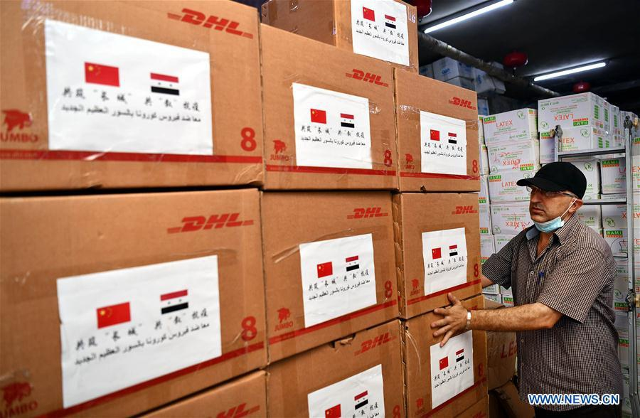 A new batch of medical donations from #China was delivered to the #Syria on Thursday to help the country fight #COVID19 pandemic. The aid includes face masks, goggles, protection suits and ventilators, according to the Chinese Embassy in Syria. https://t.co/DjZ3Y5f9ox