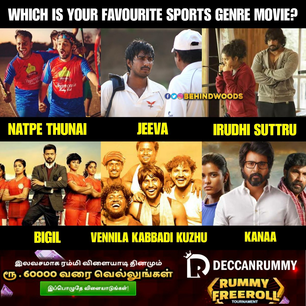 Ungaloda favourite padam edhu?   #QuarantineTimepass #Sports #Kollywood #Movies https://t.co/T9JbbDbHfF