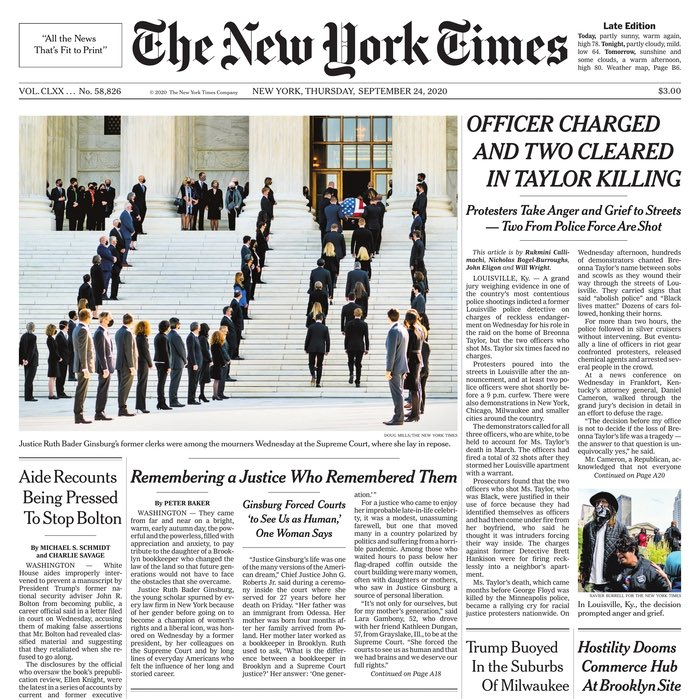 Hillary Clinton simply getting pneumonia in 2016 led to A1 front page above the fold headlines in The New York Times.   Surely news that Trump refuses to commit to a peaceful transfer of power made the front page? No, it's on A15. https://t.co/y8Z4KwDwzF