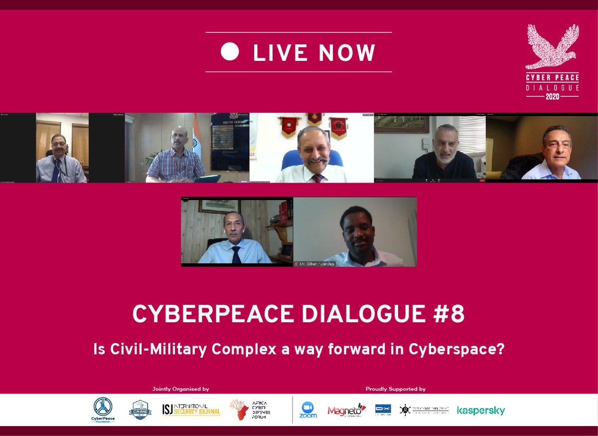 🔴LIVE: #CyberPeaceDialogue 8⃣   Is Civil Military Complex a way forward in #Cyberspace?   #cyberpeace #cybersecurity #cyberethics #cyberstrategy #UN75 https://t.co/keNFRm7rQY
