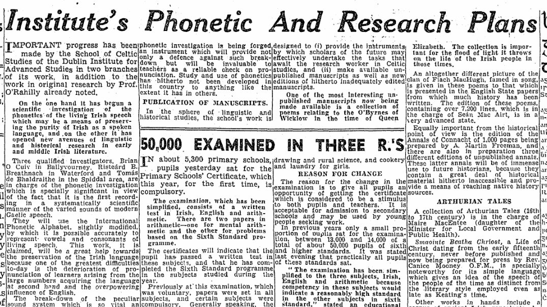 test Twitter Media - Date: 02 June 1943 Paper: The Irish Press Synopsis: In 1943, a phonetic investigation led by Brian Ó Cuív, Risteárd B. Breathnach and Tomás de Bhaldraithe of DIAS would begin the first systematic scientific recording of the varied sounds of modern Gaelic speech. https://t.co/YdIFm1OkqJ
