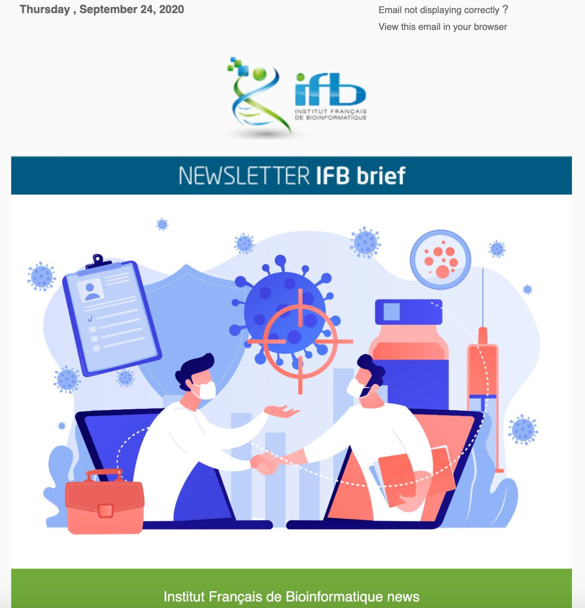 The third edition of the @IFB_Bioinfo newsletter is out : https://t.co/zTNYiF0mNv IFB Covid-19 Task Force, quick tour of the French @galaxyproject instance, and much more... Enjoy reading ! https://t.co/Sdw2b1pIFE