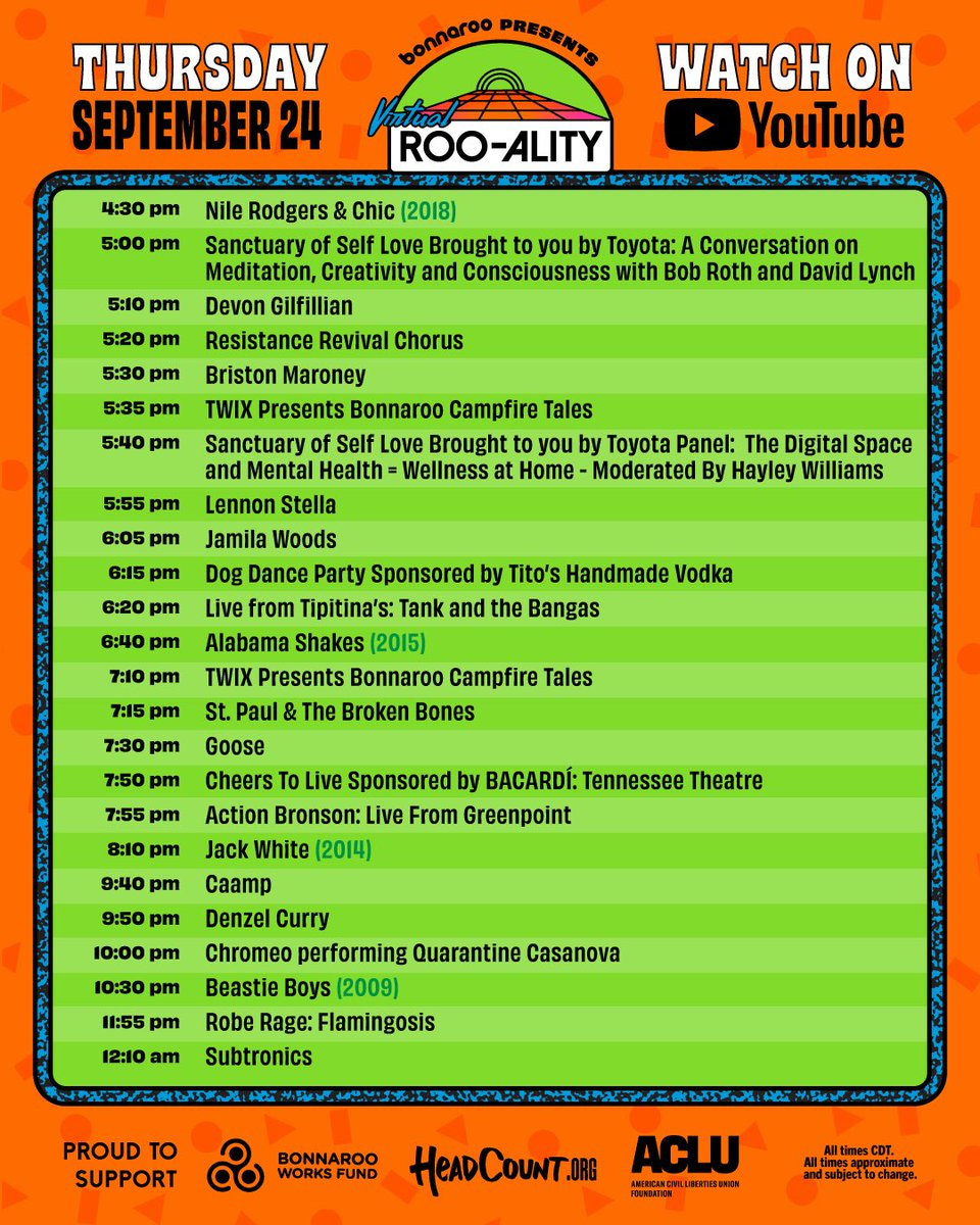 Bonnaroo livetream schedule