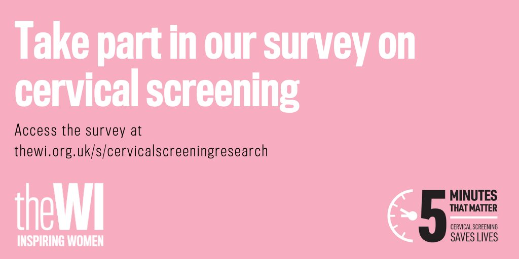 There are a few weeks left to take part in our survey on cervical screening! All women & people with a cervix aged 25 and over who live in England, Wales, Jersey, Guernsey, or the Isle of Man are invited to take part so please share the link widely: thewi.org.uk/s/cervicalscre…