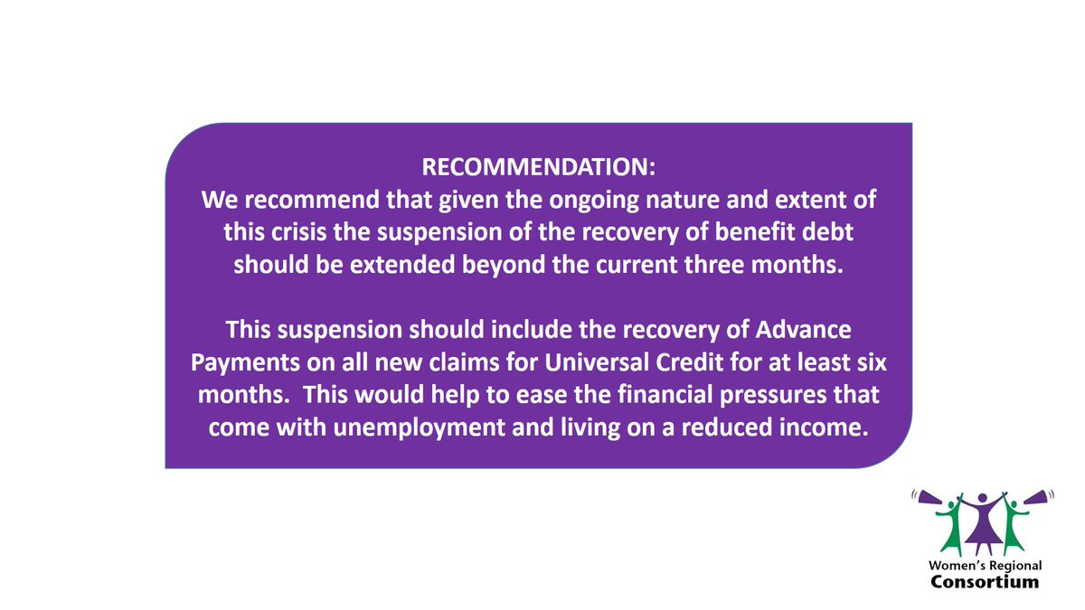 Following research on the Impact of #UniversalCredit on women @WRC_NI have recommended that given the current #COVID19 crisis the recovery of benefit debts including Advance Payments should be suspended 👇 Read the research & recommendations here https://t.co/Xlletpk5pd @Kelmba https://t.co/x9kp4uK6sc