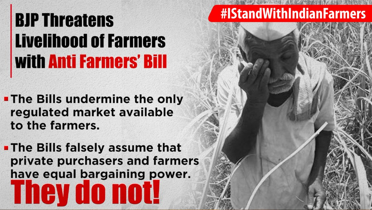 The bills do not contain a crucial clause that the price the farmers will get from private purchasers will not be less then MSP. #IStandWithIndianFarmers
