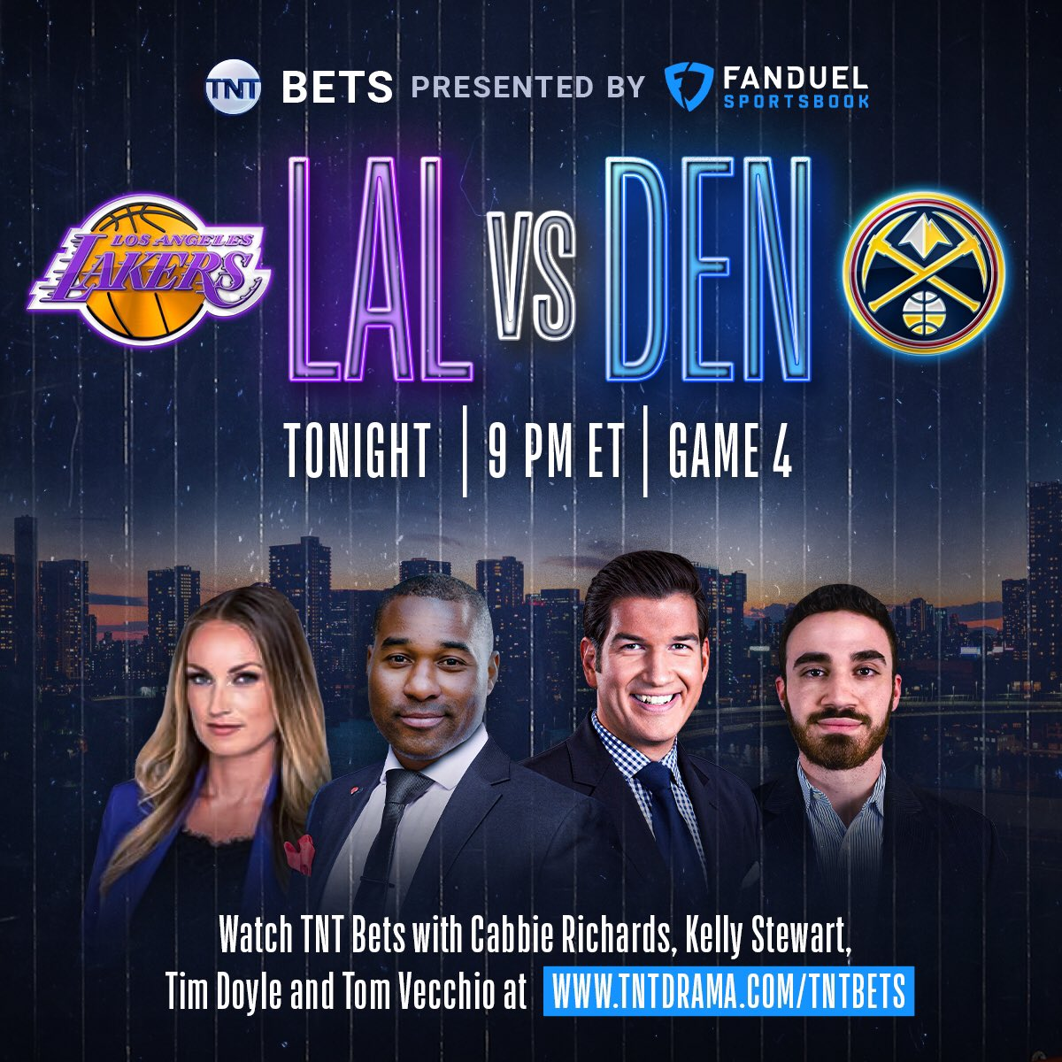 🚨 TONIGHT 🏀 Join me, @kellyinvegas, @Cabbie & @DFS_Tom tonight during Game 4 of the Western Conference Finals! @FDSportsbook.  I'm posting my picks 💰 15 minutes before tip  ⏰: 9PM ET 🖥: https://t.co/pKgHzCp51y  @NBAonTNT | #NBAPlayoffs https://t.co/6RWlsgYSFr