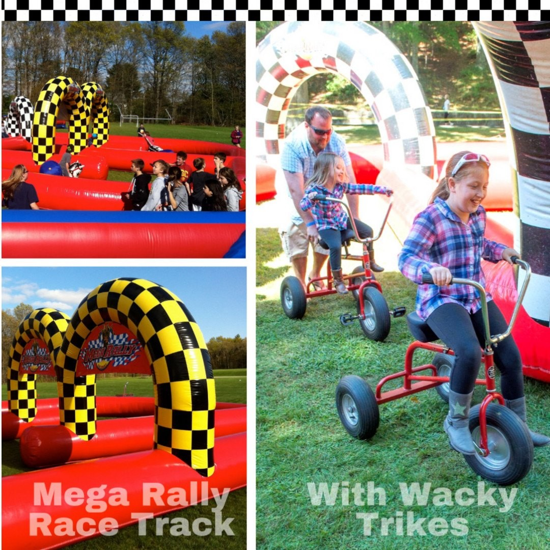 Rev up with the Mega Rally Race Track! Ride Wacky Trikes to the checkered flag on a supersized inflatable track. 🏁  Busy Bee Jumpers 781 447-8300 #WeDeliverFun #BusyBeeJumpers #BouncyCastle #Bouncehouse #backyardparty #halloweenparty #Boston #SouthofBoston #SouthShore https://t.co/lQN0Ipu6m0