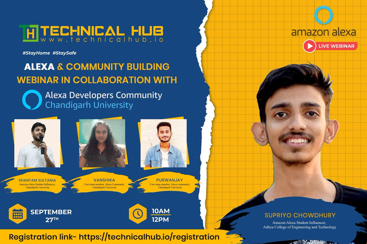 We bring you the ALEXA & Community Building Webinar in collaboration with Alexa Developer's Community.  Registration Link : https://t.co/Dt9Sxj50mw  Join us on 27th September,2020 at 10:00am Stay Tuned #alexa #developerscommunity #webinar #staytuned #TechnicalHub #technicalhubio https://t.co/zNVWwtlY5G