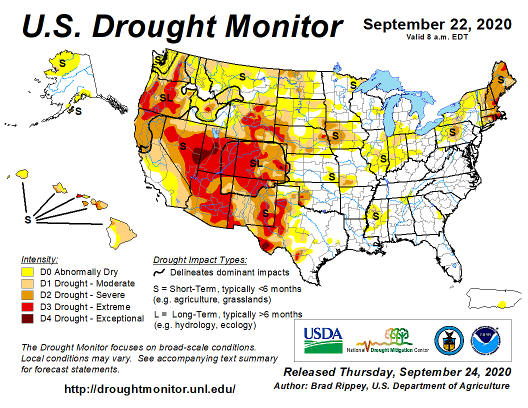 #DroughtMonitor 9/22: Fall is here. La Nina is here. Time to take stock of #drought in the USA. 36 states have at least Moderate Drought (D1) 20 states have at least Extreme Drought (D3) #Drought2020's Footprint: 33.5% of USA w/ 66.7M people See drought.gov @NOAA