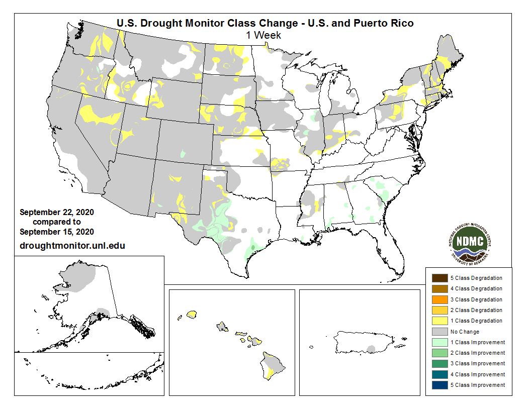 #DroughtMonitor 9/22: TX saw improvements for the second week in a row in this weeks change map. Otherwise, degradations, or at best status quo, for regions already in #drought. See drought.gov @NOAA