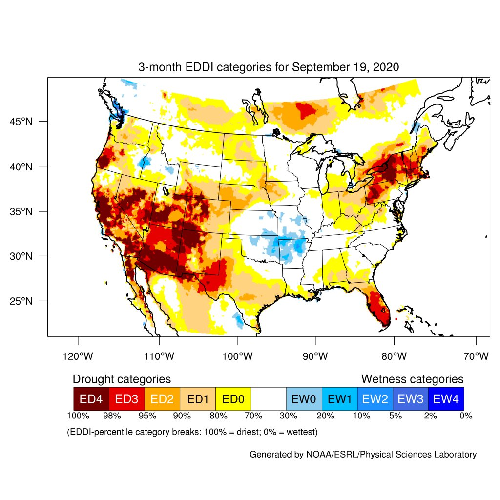 #DroughtMonitor 9/22: Summer 2020 in 4 Maps The 3-month EDDI, percent of normal precip, and departure from normal temps maps show how heat + dryness led to degradations in the 3-month #DroughtMonitor change map, particularly in areas now w/ Extreme or Exceptional Drought. @NOAA