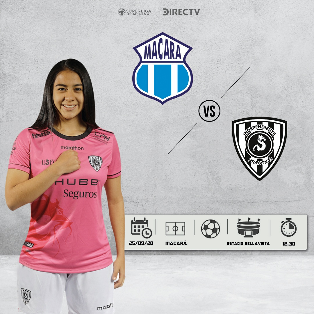 DRAGONAS 💻 Próximo Partido👇 🗓 25 de Septiembre  ⚽ @Macara_Oficial 🆚  #DragonasIDV 🏆 #SuperLigaFemenina 🎮  ⏰ 12h30 🏟 📲 #FutbolEnCasa  🔵⚫🐉 Sé Diferente Sé Independiente Sé Dragona @USFQ_Ecuador @IDV_EC #SLF  #DragonasIDV  #SuperLigaFemenina https://t.co/6GJpdzXLMF