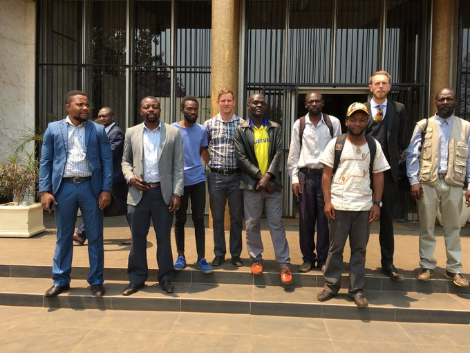 JUST IN: Harare Magistrate Rumbidzai Mugwagwa acquits 9 HRDs including human rights lawyer @DougColtart @ARTUZ_teachers leaders, who had been on trial since December on charges of criminal nuisance for allegedly carrying a miniature coffin during a demo dubbed Pay Day Funeral. https://t.co/7cH7wv5ti9