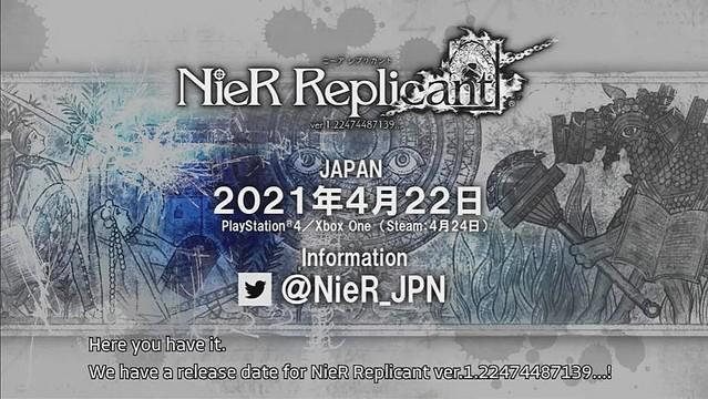 【楽しみ】『NieR Replicant』来年4月22日に発売決定!『NieR Replicant ver.1.22474487139…』を2021年4月22日に発売。対応機種はPS4、Xbox One、PC(Steam)。Steam版の発売日は4月24日となる。