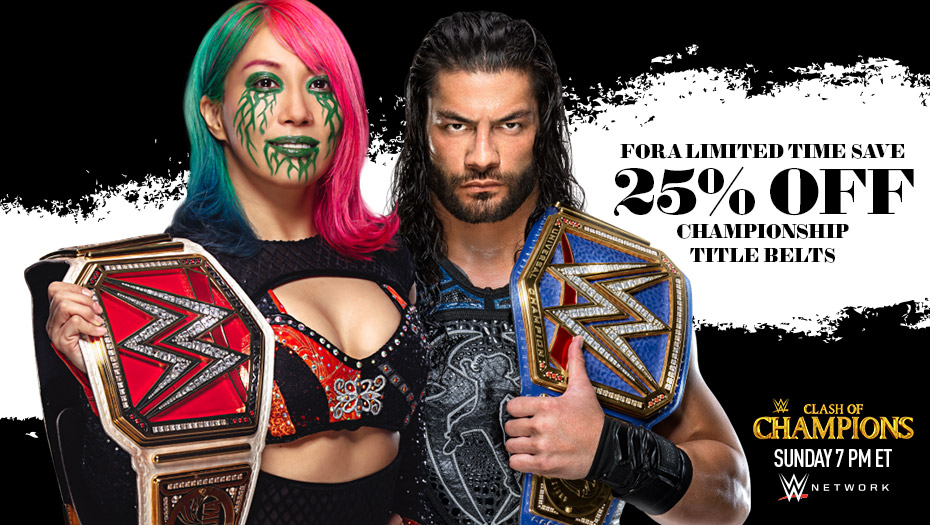 Enjoy 25% Off Select Championship Titles right now at #WWEShop! #WWE  https://t.co/WY0U9wcE1P https://t.co/b8TKG40e2I