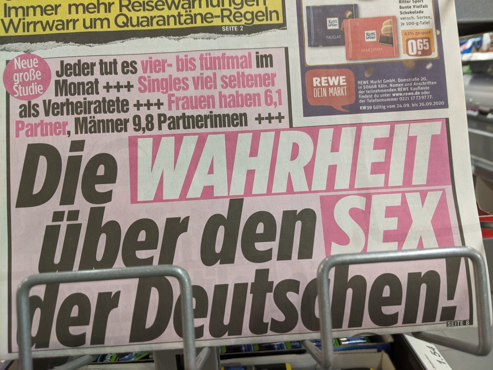 test Twitter Media - Today's headline of Germany's biggest tabloid: THE TRUTH ABOUT THE SEX OF THE GERMANS - men have 9.8 partner on average! 😱  Me: Is that per week? Per month? It can't possibly be per year... 🙈😈 #Slut https://t.co/Nqo4ZNhiDV