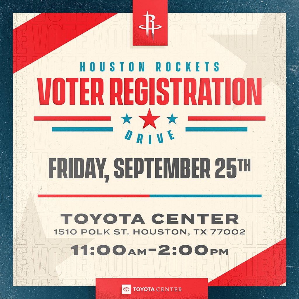 Stop by Toyota Center tomorrow from 11am-2pm for our Voter Registration Drive! Register to vote, see @clutchthebear and win some Rockets prizes! More Info: bit.ly/35KDCEt
