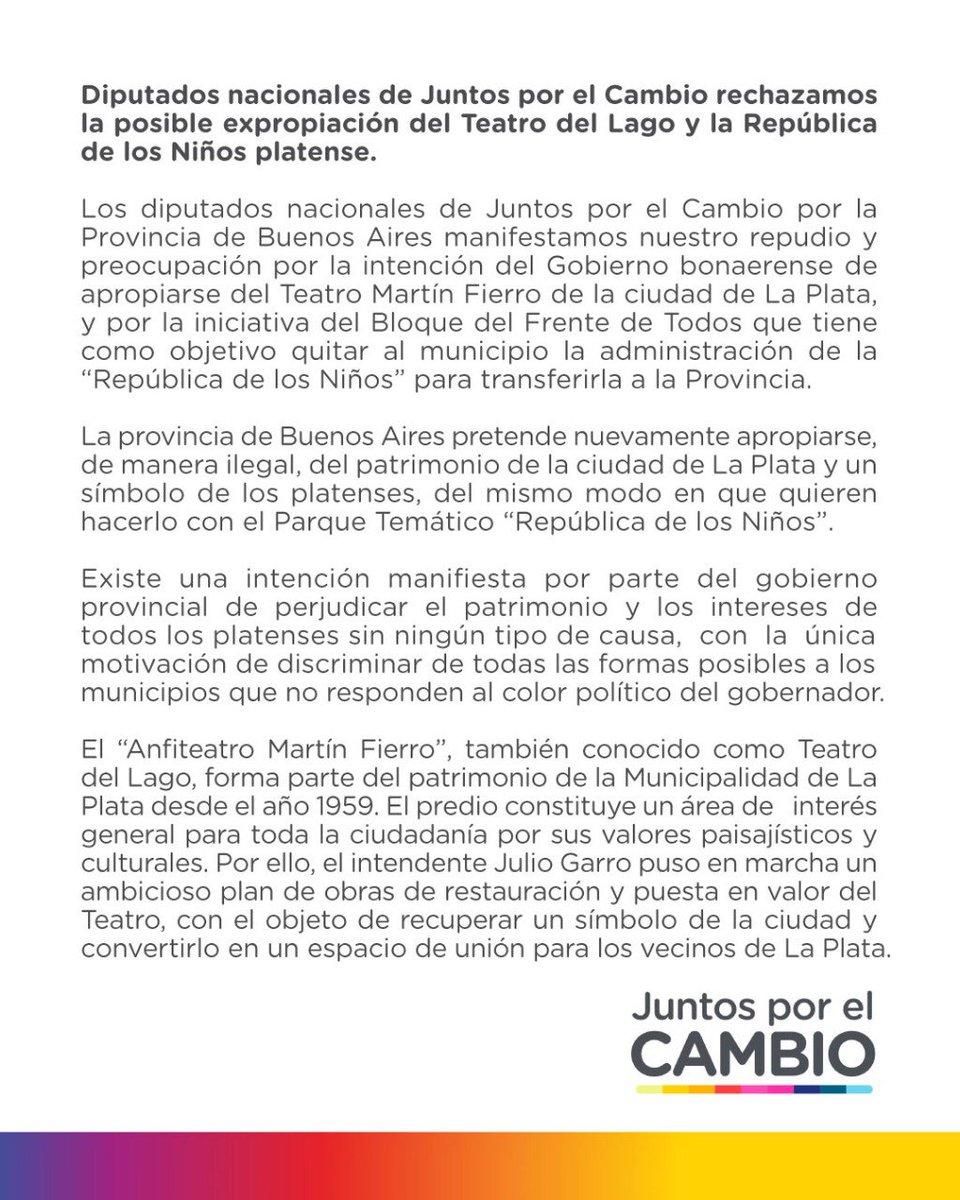 Los diputados de @juntoscambioar apoyamos a @JulioGarro y repudiamos el avance de la provincia sobre La República de los Niños y el Teatro del Lago, parte del patrimonio e identidad platense. Pedimos que no se haga política con la cultura. #LaCulturaPlatenseNoSeToca https://t.co/drYFCKjYTL