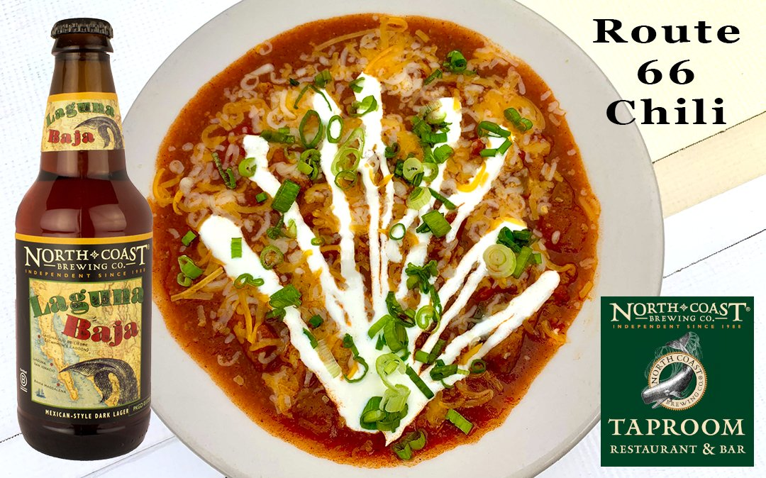 ROUTE 66 CHILI Fall is here, time to bring out our award winning shredded pork chili, made with our Laguna Baja Mexican Style Dark Lager. #northcoastbrewerytaproom #lagunabaja #fortbraggca #darklager #viennalager #craftbeer #independentbeer #pubfare #fallfood https://t.co/Kas4zfkqH4