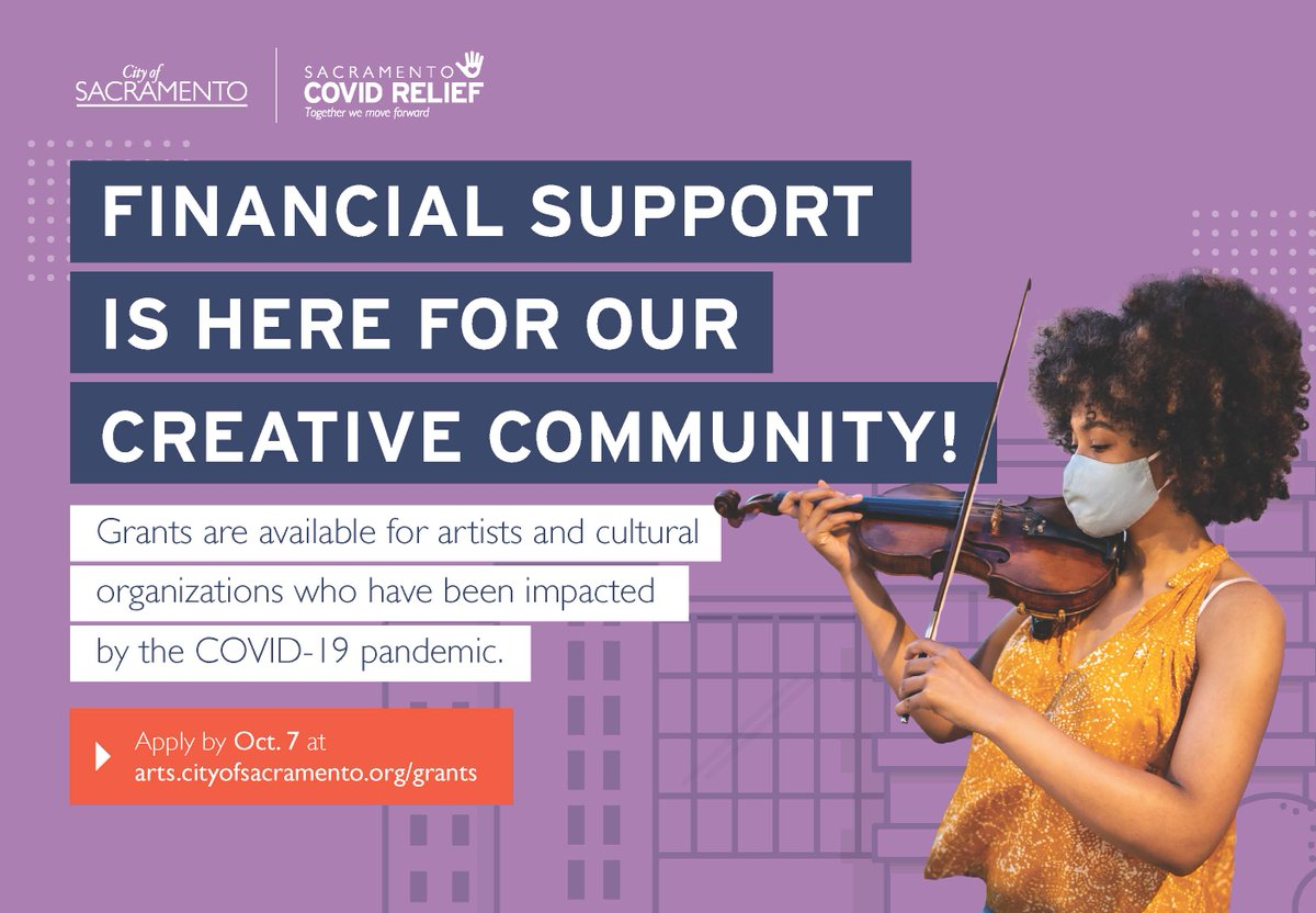 💰  GRANT DEADLINE EXTENDED 💰  Artists and cultural organizations now have until October 7 to apply for @SacCityArts Creative Economy Recovery grants!  Apply for funding on https://t.co/eJDzqdUz2z https://t.co/rySvQymlGI