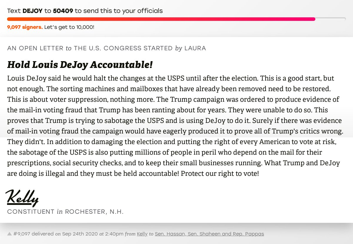"🖋 Sign ""Hold Louis DeJoy Accountable!"" and I'll deliver a copy to your officials: https://t.co/XBC7UWK4RD  📨 No. 9,097 is from Kelly to @Senatorhassan, @SenatorShaheen and @RepChrisPappas #NH01 #NHpolitics #fitn #SaveTheUSPS https://t.co/BEAz7IBGPf"
