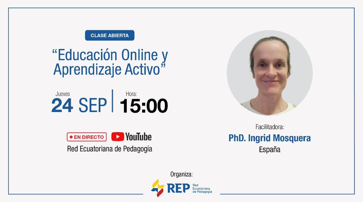 """🔴 #NuevaTemporada de #ClasesAbiertas  ¡La #REP tiene nuevas propuestas para ti! Hoy sortearemos una beca para el curso """"Aprendizaje Activo en Entornos Educativos Online ⬆️ 🔗 SUSCRÍBETE al canal de Youtube de la #REP para participar 👇  https://t.co/Gxs4crYbnA https://t.co/MryLVphKKh"""