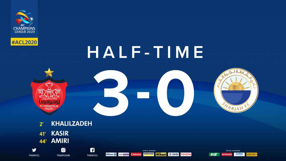 HT | 🇮🇷 Persepolis FC 3 - 0 Sharjah FC 🇦🇪  @PersepolisFC clearly in the driving seat to qualify to the RO16 along with @DuhailSC.  Will @SharjahFC pull a comeback?  #PERvSHJ | #ACL2020 https://t.co/GGy956tEiD