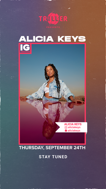 .@aliciakeys is taking over Triller IG! Tune in today at 1 PM PT to listen to her new music and more! #Triller #aliciakeys #NewMusicAlert https://t.co/bjg8nn8XGr