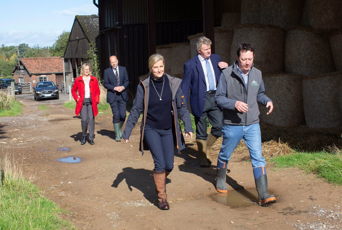 The Countess was given a tour by farmer Tim and spent time chatting with staff, including the team running the farm's catering van which supported people in the nearby village during lockdown.
