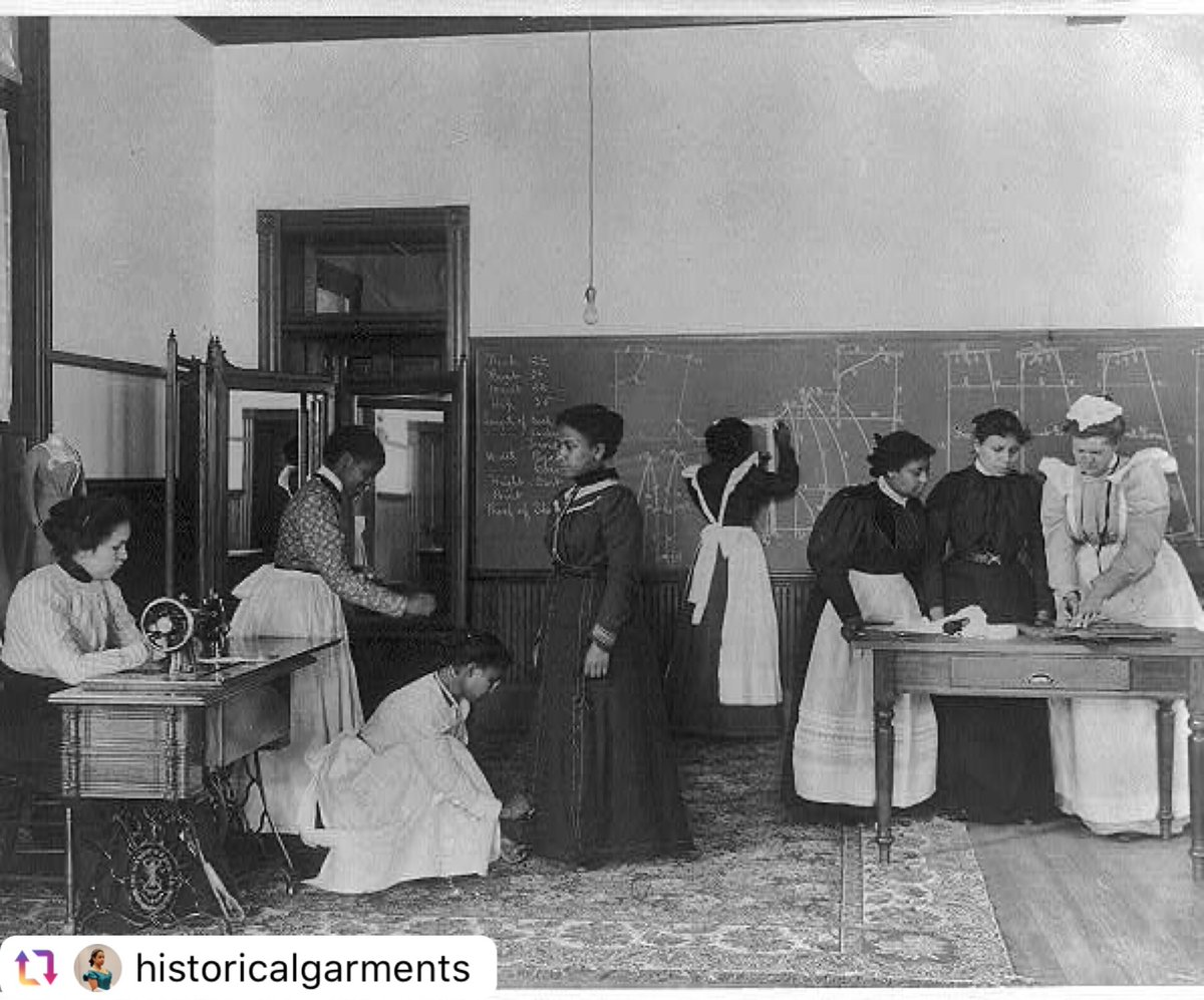"""#ThrowbackThursday - """"1899 a class in dressmaking at the Hampton Institute in Virginia. Library of Congress call number lot 11051"""""""