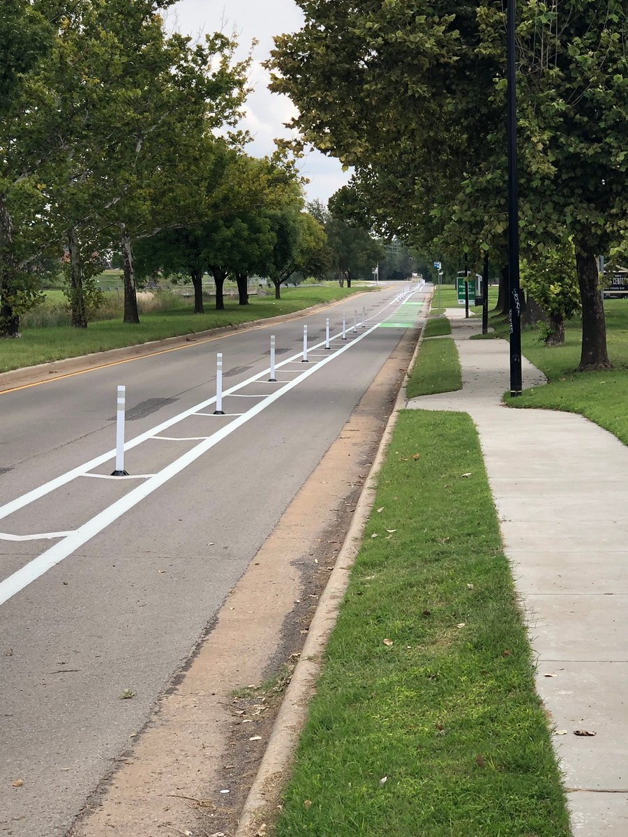 #OKC is celebrating #BikeToWorkDay on Friday, and cyclists can enjoy the ride in a protected bike lane for the first time. It's along General Pershing west of downtown. 50 more miles of bike lanes are coming, plus $20 million more in #MAPS4. More: https://t.co/sGW1GXcXsC 🚲 https://t.co/kd7Ieex5k3