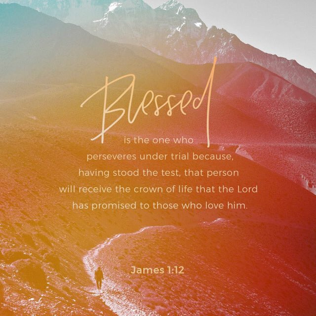 #Blessed is the man who #perseveres under #trial, because when he has stood the #test, he will #receive the #crown of #life that #God has #promised to those who #love Him. https://t.co/qAciof0D3q
